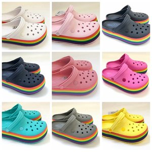 outdoor shoes for women sneakers shoes Sandals Garden Clog Sandal Drying Summer Beach Slipper Flat Outdoor Sandals Male Shoe rainbow 190057