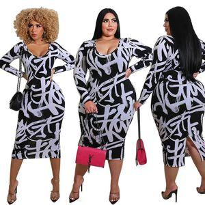 Bodycon Plus Size Kleider für Frauen 4XL 5XL Hohe Taille Langarm Eleganter Rundhalsausschnitt Weiß Vintage Kleid Großhandel Dropshipping