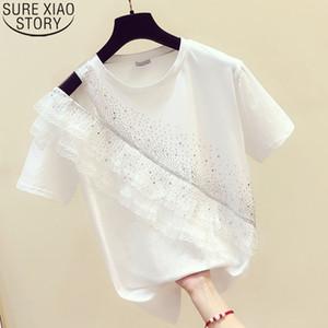 Tshirt Women 2020 Summer New Korean Loose Fashion Ruffled Hollow Shoulder Tees Shirt Diamonds Round Collar Camisas Tops 9234 50 A1112