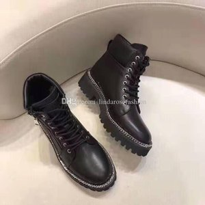 Woman Brand New Bal Genuine Leather Main Army Ankle Ranger Boots Paris France Catwalk Luxury Zipper Chain Lace-up Shoes Boots