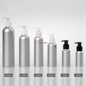 30pcs 30ML 50ML 100ml 150ML 250ML aluminum bottle,Screw emulsion pump bottle With black   White transparent pumpgood quality