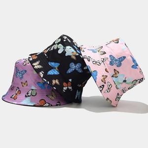 패션 양면 남자 여자 야외 접이식 나비 인쇄 된 자외선 차단 어 부 모자 여름 해변 태양 양동이 모자 chapeau # p3