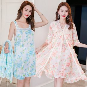 2PCS Silk Satin Lace Sexy Lingerie Nightgown Robe Sets for Women Hot Summer Bathrobe Sleepwear Home Dress Nightdress Night Dress Y200425
