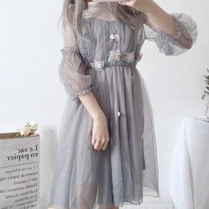 Style French Fairy Vintage Retro Lace Chiffon Long Sleeve Casual Chic Korean Dress Women Autumn Clothes 2020