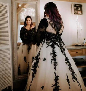 Plus Size A Line Wedding Dress Black Appliques Hollow Back With Long Train Bridal Gowns Custom Made Tulle V Neck Wedding Dress