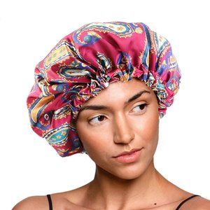 Big Size Double Layer Satin Bonnet Women Custom Designer Silky Night Sleep Cap Adjustable Elastic Band Salon Make Up Head Cover