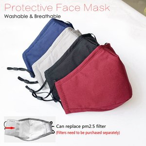 Face Mask Anti-Dust Earloop with Breathing Valve Adjustable Reusable Mouth Masks Soft Breathable Anti Dust Protective Cotton Masks HHA1193