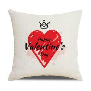 Valentine's Day Fronha Caso Linho Love Home Lance Almofadas Soft Decorative Almofada Capa Para Sofá Cadeira Travesseiro Covers Gwe4280