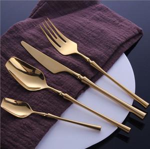 Stainless Steel Tableware Gold Cutlery Set Knife Spoon and Fork Set Dinnerware Korean Food Cutlery Kitchen Accessories