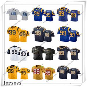 Personalizado Homens Mulheres Juvenil Los Angelesram99 AaronDonald Início Preto Verde Branco Azul Cinzento Amarelo Football Jerseys
