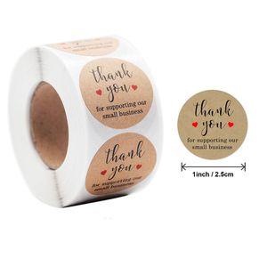Kraft Paper Main Fabriqué Merci 500pcs Étiquette de 2,5 cm pour Sac d'affaires Stickers Scelling Cadeau
