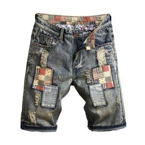 Jeans droite en jeans Hommes Été Nouvelle Mens Stretch Jeans Courts Casual Streetwear Elastic Biker Denim Shorts