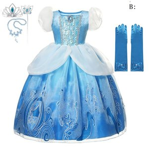 Girls Deluxe Princess Dress Up Clothes Puff Sleeve Sequined Print Gown Children Halloween Xmas Party Costume Dress with Accessories HH9-3676