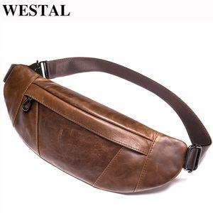 Westal Men's Bag Genuine Couro Cintura Pacote Masculino Fanny Pack Homem Bolsa De Cinto Running Sacos de Celular Saco De Celular Saco De Cintura