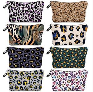 Bolsa de cosméticos Impresión de leopardo Impermeable Bolsa de maquillaje Damas Bolsa de almacenamiento Simple Moda Viaje Bolsa Billets Totes Zipper Handbag E120407