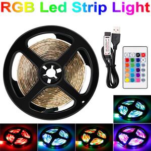 RGB LED Şerit Işık 5 V USB LED Neon Şerit AB ABD Plug TV Arka Işık LED RGBW Işık Şeridi Noel Dekor Lamba Bant