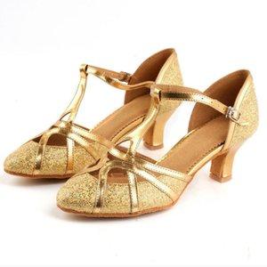 Girls Elegant Party Dancing Shoes Summer Women Rumba Waltz Prom Ballroom pumps Latin Salsa Square heel golden round heal sandal