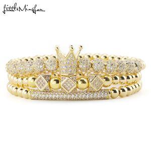 3pcs Set Luxury Gold beads Royal King Crown Dice Charm CZ Ball Men Bracelet mens fashion bracelets & bangles for Men Jewelry Q1201