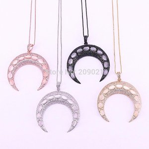 5Pcs New Design CZ Micro Pave Cubic Zirconia and Cat Eye Stones Double Horn   Crescent Moon Pendant Necklace