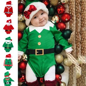 Newborn Infant Romper Unisex Boys Girls My First Christmas Clothes Xmas Hat Cap Playsuit Outfits Christmas's Baby Gift
