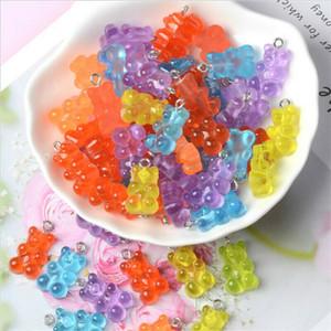 100 pcs bonitinho gummy bear pingente encantos para colar bracelete brincos jóias DIY achados resina ursos presente de natal 2.1 * 1.1cm