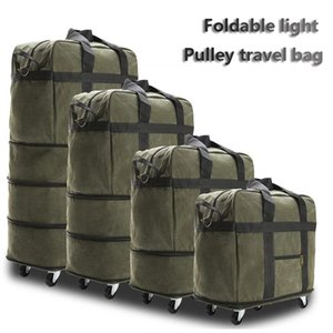 Oxford cloth duffle bag large capacity travel bag with wheel back pull bag dual-use collapsible luggage 158 air carrier package LJ201116