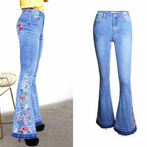Women Printing Casual Long Pants Sexy Slim Flares Pants Tight Stretch Blue Jeans Fashion Rose Embroidery High Waist Denim