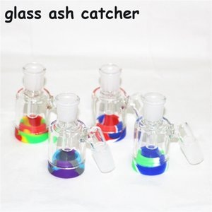 hot sale 14mm Male Glass Ash Catcher with colors silicone container straight silicone bong water bong glass bong oil rig for smoking pipes