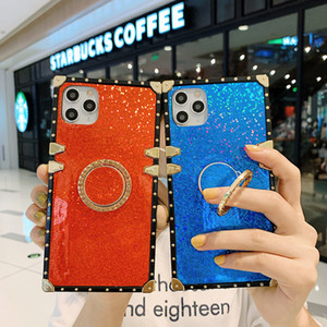 Luxury Glitter Square Plating Diamond Bracket Back Cover for iPhone 12 11 Pro Max XR XS 6s 8 Plus Samsung S20 Note20 Ultra