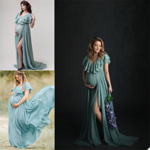 Maternity Dresses For Photo Shoot Chiffon Tieres Pregnant Women Photography Props Custom Made Party Sleepwear Free Shipping
