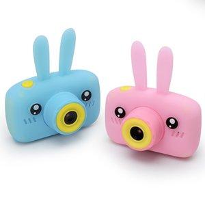 Cámara para niños con tarjeta de memoria de 32GB Mini cámara digital Conejo lindo Cubierta de silicona Funda protectora Toys para niños Regalo C1204