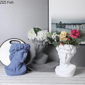 Céramique Art Portrait David Buste Sculpture Plant Vase Vase Vase Vase de bureau Décoration de bureau Arrangement de fleurs Accueil Vase Décoration1