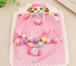 Kinder Pearl Schmuck Set Ring Armband Anhänger Halskette Haarnadel Haarband Stirnband Cartoon Niedlichen Perlen Haarschmuck Geburtstagsgeschenk Rosa