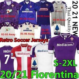 Retro ACF Fiorentina Futbol Gömlek Batistuta Rui Costa 1992 93 95 96 98 99 2000 Vestiti Da Calcio 20 21 Futbol Formaları Ribéry Erkekler Kids Kiti