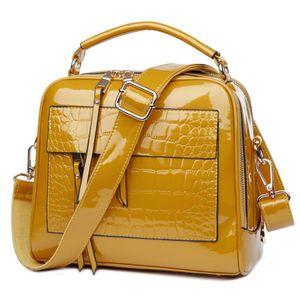 New Patent Leather Handbags Crocodile Vintage Women Bag Female Shoulder Bags Totes Q1127