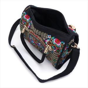 Yeni Gelmesi Kadınlar Çiçek Işlemeli Çanta Etnik Boho Tuval Alışveriş Bez Fermuar Çanta Drop Shipping