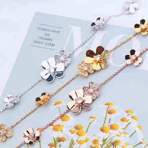 Flower Diamond Bracelet Handmade Women Clover Bracelets Wedding Party Jewelry