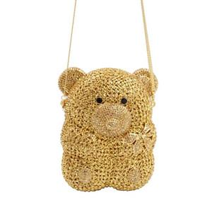 La più nuova figura animale Wedding Orso d'argento Oro Candy Shimmering sacchetto di sera della frizione delle donne borsa lucida borse del partito della borsa della catena Q1116
