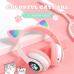 Bluetooth Headset Cute Cat&Ear Paw LED Girls Gift Kids' Headphone Wireless HiFi Stereo Bass 3.5mm Aux with Mic