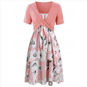 Dress Women Short Sleeve Bow Knot Bandage Top Floral Print Short Suits Noble Valuable Women Dress Summer