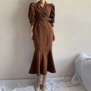Vintage All Match Ruffles Mermaid 2020 Office Lady Brief Trumpet Fashion Chic Retro Autumn Women Long Dresses