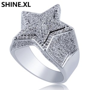 Hip Hop Star Shape Christmas Gift for Men Micro Pave CZ Gold Silver Color Engagement Ring Bling Jewelry
