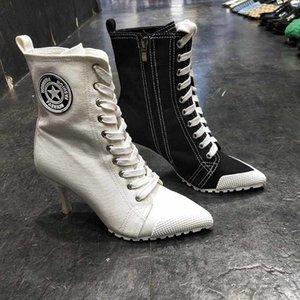 Bota Femininas Alto Artificial 8cm, Calado Feminino com Cadarso e Salto Fino, Novo, 2020 Sapatos Sexy Inverno de Personalidade