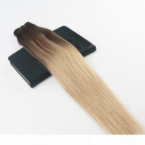 Human Hair Bundles Ombre #4 Fading to #18 Highlights Brazilian Virgin Hair 100G Per Bundle Straight Human Hair Weft Extensions