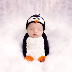 Newborn Boys Girls Photography Props Crochet Costume Hat Sleeping Bag Accessories Newborn Photography Props Catoon Penguin