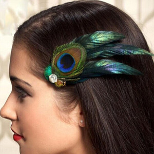 New trendy women hair clip unique Peacock Feather Rhinestones women lady party Hair Clip Pin Head Hairpin for girl gift #48