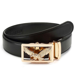 KWD Luxury Gold Eagle Metal Automatic Buckle Waist Belt Designer Belts Men's High Quality Cow Genuine Leather Kemer for Jeans 201120