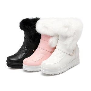 Hot Sale Women snow boots high quality PU soft leather height increasing keep warm winter ankle boots platform sweet shoes