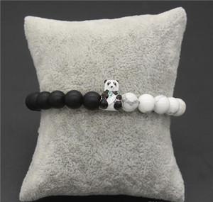 Bracelets 8mm Natural Bracelet Bangles Panda Beads & Lovely & Stone White Jewelry Animal Gift Black sqchs lihuibusiness