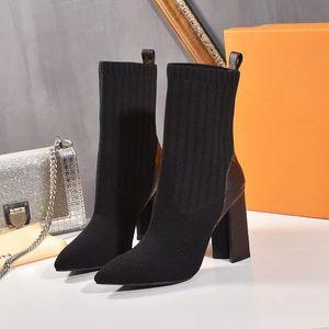 2020 New Fashion Lady Sock Booties Moda Cómoda Cuero Mujer Botas Presbicia Martin Botas Heel Altura 9cm Tamaño 35-42